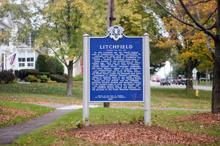Sign giving information about the history of the town of Litchfield, Connecticut, USA