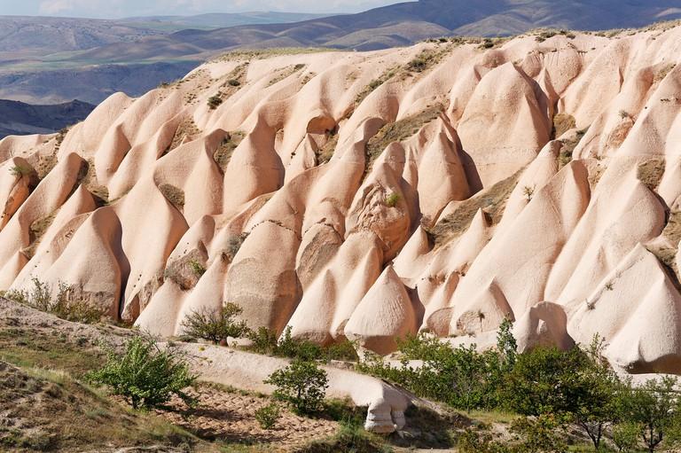 Tufa formations at Uchisar, Goreme National Park, Cappadocia, Central Anatolia Region, Anatolia, Turkey