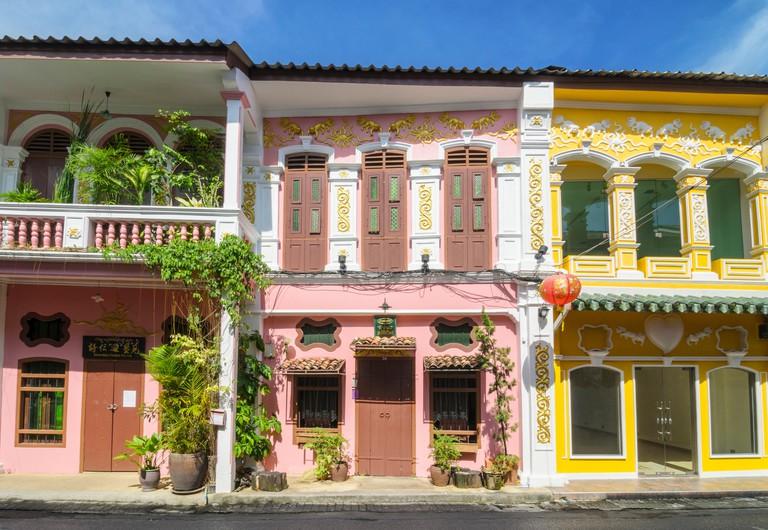 Renovated heritage architecture of Soi Rommanee in Phuket Old Town, Phuket Island, Thailand
