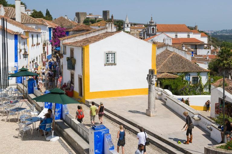 Rua Direita from the wall of Castelo de Obidos, Obidos Castle, Obidos, Leiria District, Pinhal Litoral, Portugal.