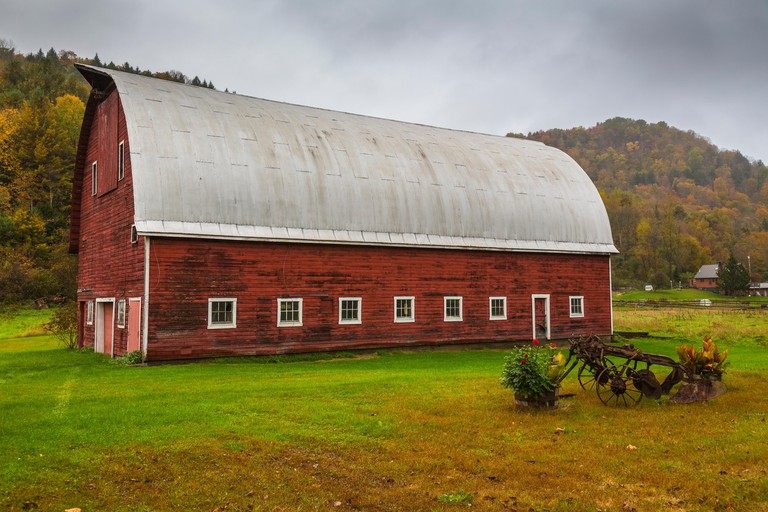 Picturesque red barn in North Randolph in Vermont USA