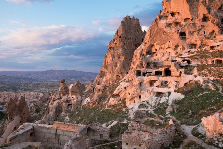 Uchisar Castle at sunset, Uchisar, Cappadocia, Turkey