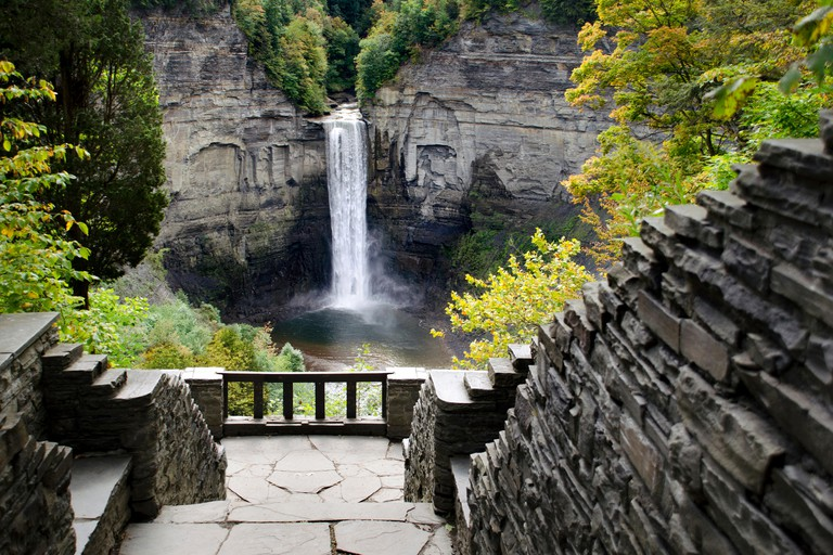 Taughannock Falls New York State Park, Ithaca Finger Lakes Region, Tompkins County central New York, USA.