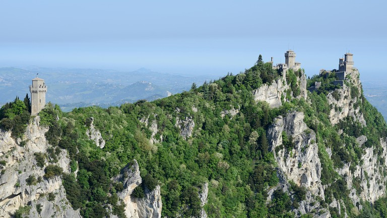 CASTLES - left to right : Third, Second and first Towers - (aerial view). Republic of San Marino.