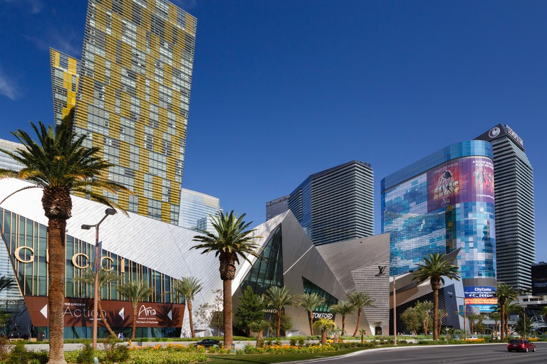 Citycenter on Las Vegas Boulevard, with the Gucci store, Crystals, Aria Resort, Veer Towers, and the Cosmopolitan