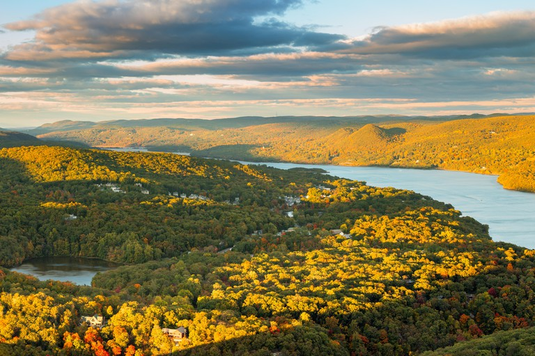 Hudson Valley and Fort Montgomery, NY viewed from Bear Mountain on a sunny autumn afternoon.