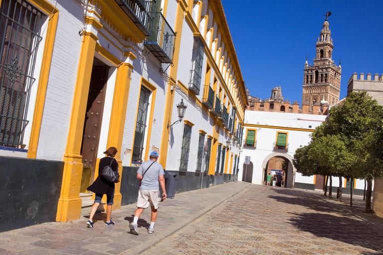 Giralda tower from Patio de Banderas in the Royal Alcazar,Sevilla,Andalucia,Spain