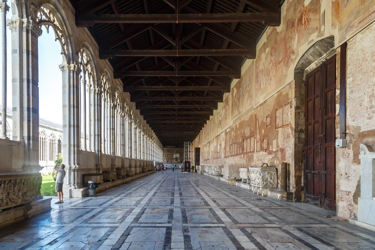 PISA, ITALY - SEPTEMBER 21, 2015 : View of Camposanto Monumentale, known as monumentale cemetery, built in 12th century, in Pisa