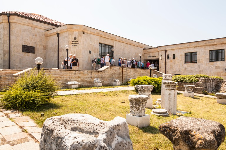 Tourists visiting the Archaeological Museum, Nessebar, Bulgaria