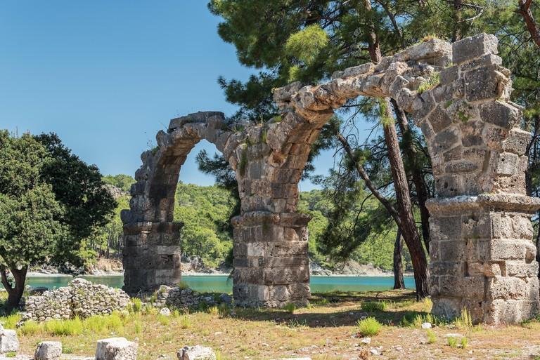 Antique city of Phaselis, Antalya Destrict, Turkey: aqueduct