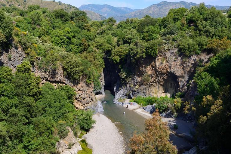 View looking down at entrance of Alcantara Gorge (Gole Alcantara), Sicily, Italy