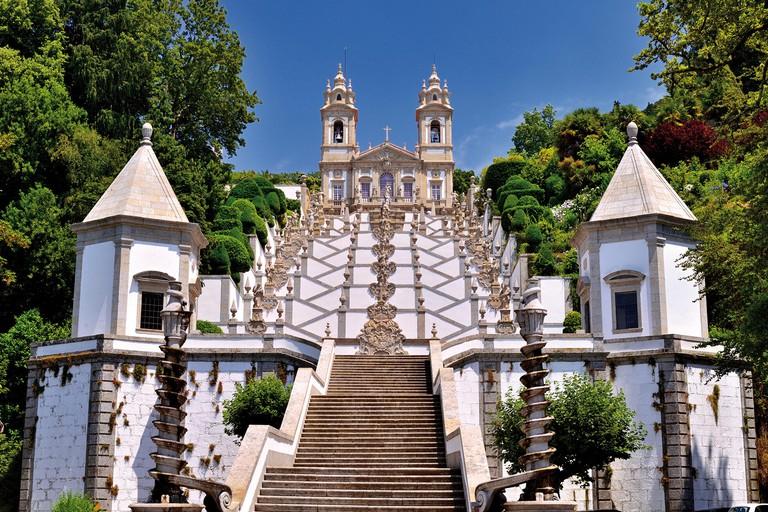 Portugal: Staircase and church of sanctuary Bom Jesus do Monte in Braga