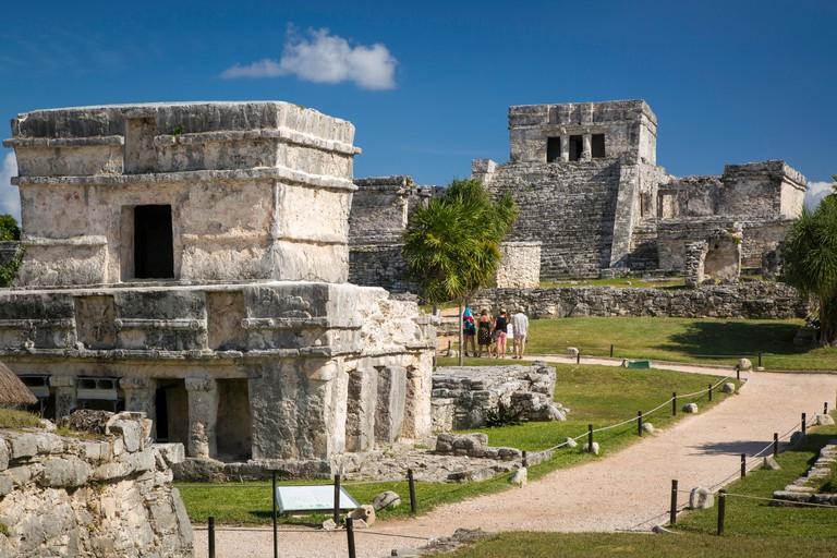 Ruins of the Mayan temple grounds at Tulum, Quintana Roo, Yucatan, Mexico