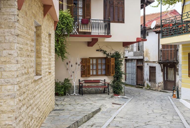 Building exterior in Arnaia Village, Halkidiki, Greece