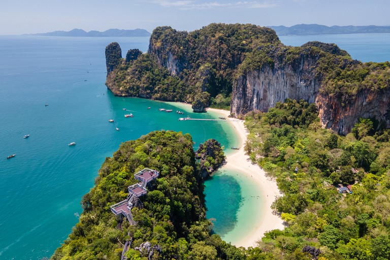 Aerial view of view point of Hong island, Thailand