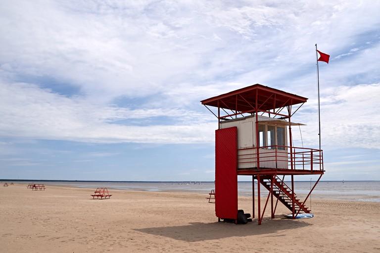 Lifeguard tower on beach, Parnu, Estonia