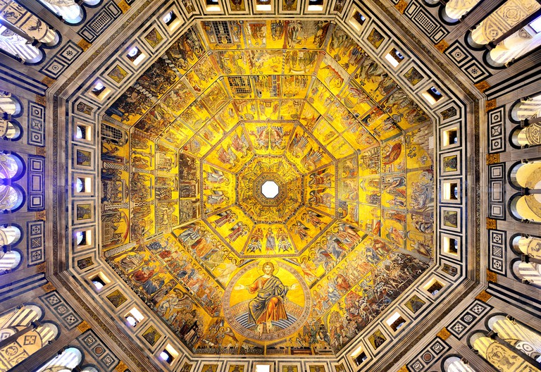 Mosaic Ceiling and Roof in the Baptistry of San Giovanni, Florence, Italy