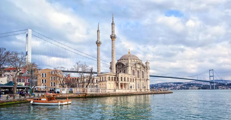 Ortakoy mosque and Bosporus bridge on European side in Istanbul, Turkey