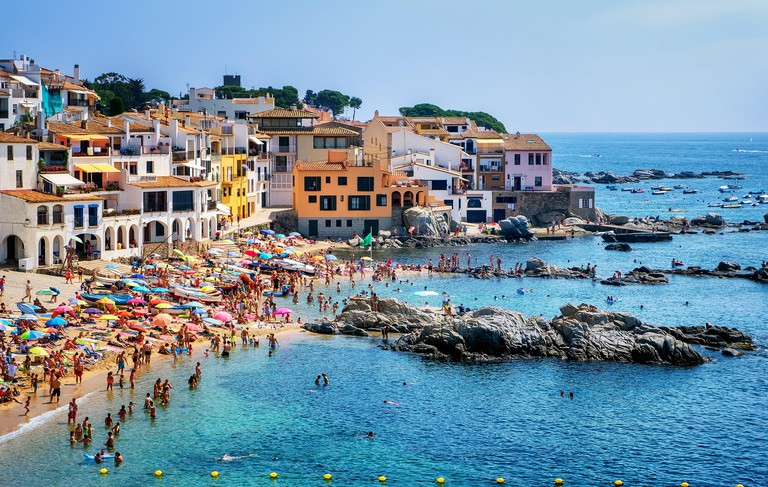 Calella de Palafrugell, traditional whitewashed fisherman village and a popular travel and holiday destination on Costa Brava, C