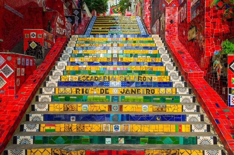 RIO DE JANEIRO - MARCH 29, 2016: Rare empty view of colorful mosaic tiles at the Escadaria Selaron Steps.