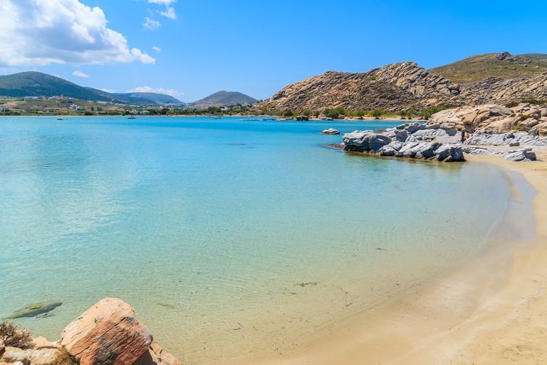 Crystal clear azure sea water of Kolymbithres beach, Paros island, Greece