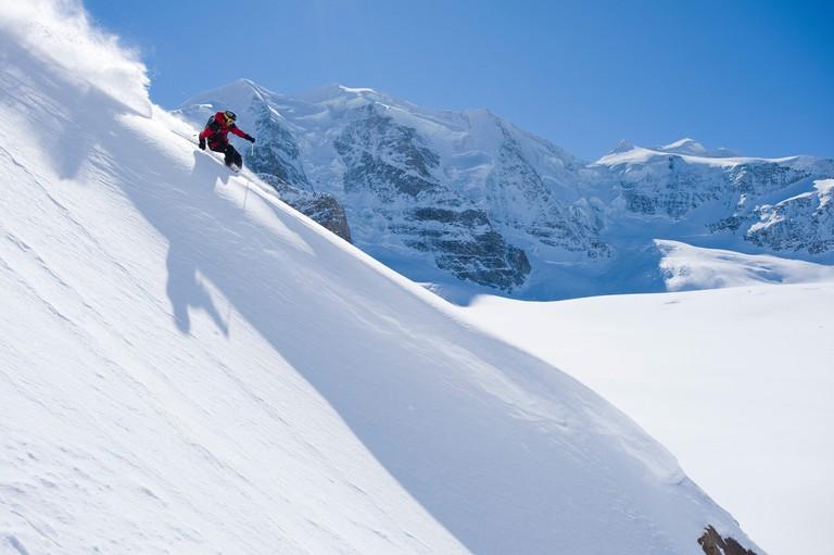 Hugo Harrisson skiing in Diavolezza, St. Moritz, Switzerland.