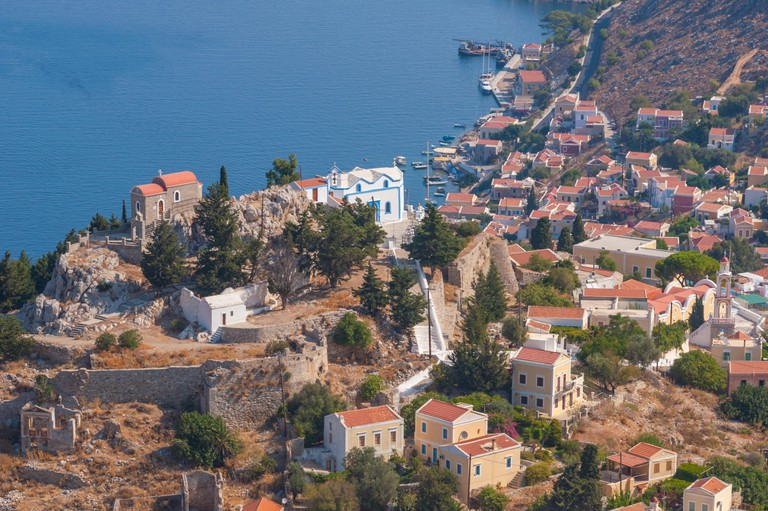 Looking down on the Kastro in Horio on Symi Greece