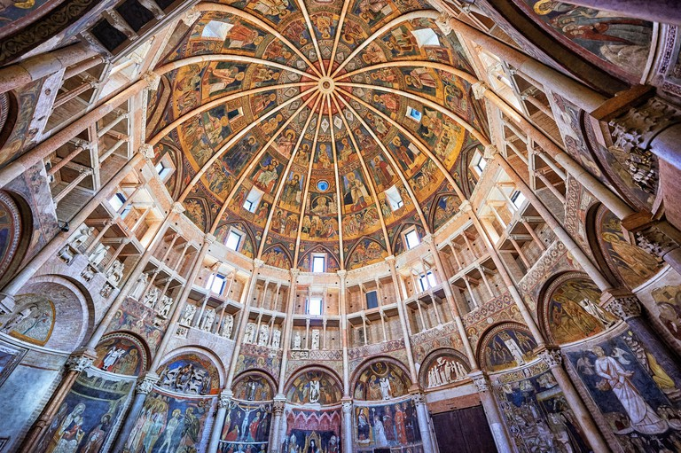 Romanesque frescoes inside the dome of the Romanesque Baptistery of Parma, circa 1196, (Battistero di Parma), Italy.