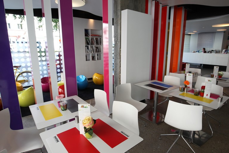 The Pantone Hotel in Brussels, Belgium is a color themed boutique hotel based on the pantone color matching system.