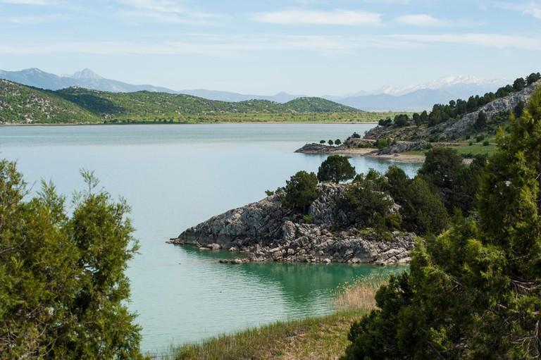 The freshwater natural reservoir Lake Beysehir, Southwestern Turkey
