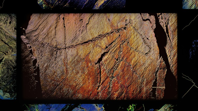 """Digital panel inside of the Coa Museum showing the paleolithic engraving of a horse """"Cavalo da Rocha 14"""" in Canada do Inferno"""