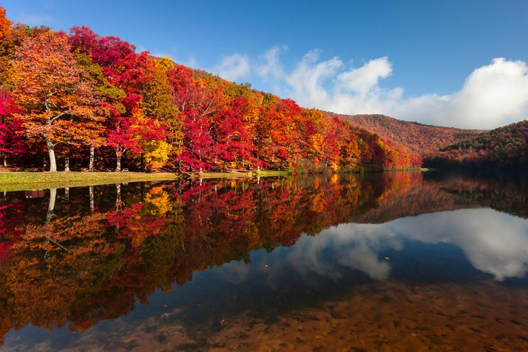 Autumn on Sherando Lake Recreation Area in the George Washington National Forest.