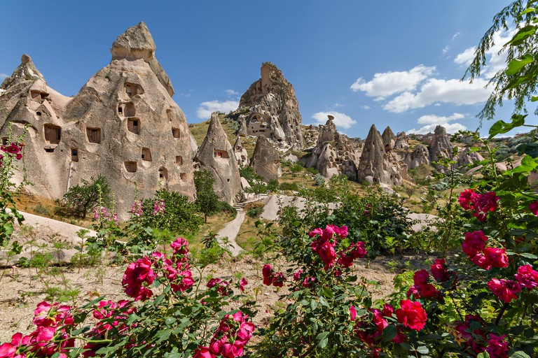 Volcanic rock formations known as fairy chimneys and extreme terrain of Cappadocia, Turkey.