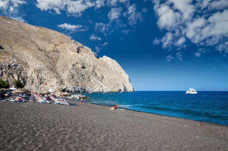Perisa beach, Santorini, Greece. The black sand beach of Perissa on the Greek island of Thira.