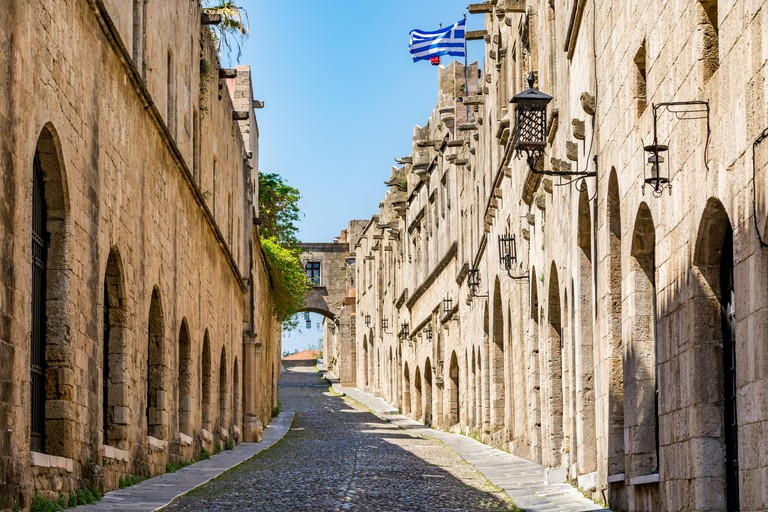 The Street of the Knights - the most famous street in Rhodes old town, Rhodes island, Greece