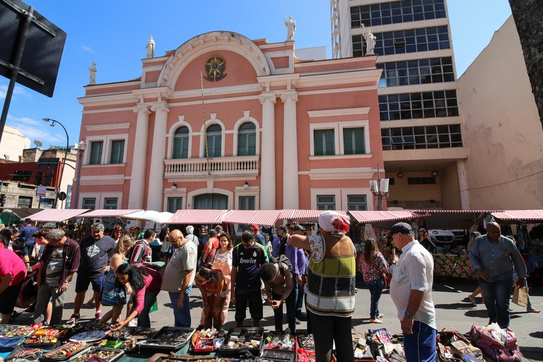 Rio de Janeiro, Brazil, September 02, 2017: Hundreds of collectors of antiques, artisans and artists exhibit their products in tents along Rua do Lavradio, one of the oldest streets in the center of Rio. people take advantage of the cultural program for s