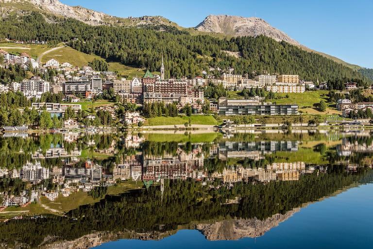 St.Moritz and Lake St.Moritz in Springtime, Upper Engadin, Switzerland