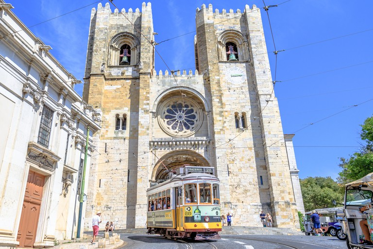Tram 28 and Lisbon Cathedral