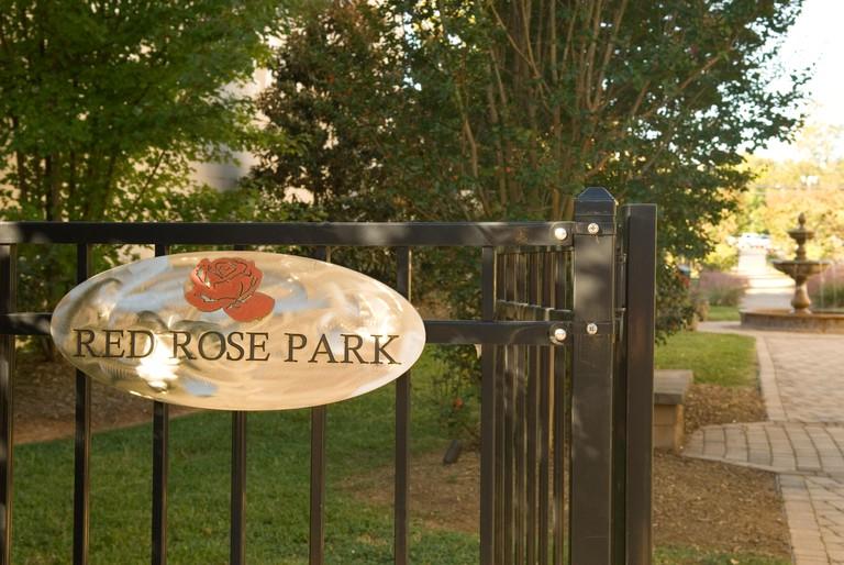 Entrance sign to Red Rose Park, Lancaster, SC, USA.