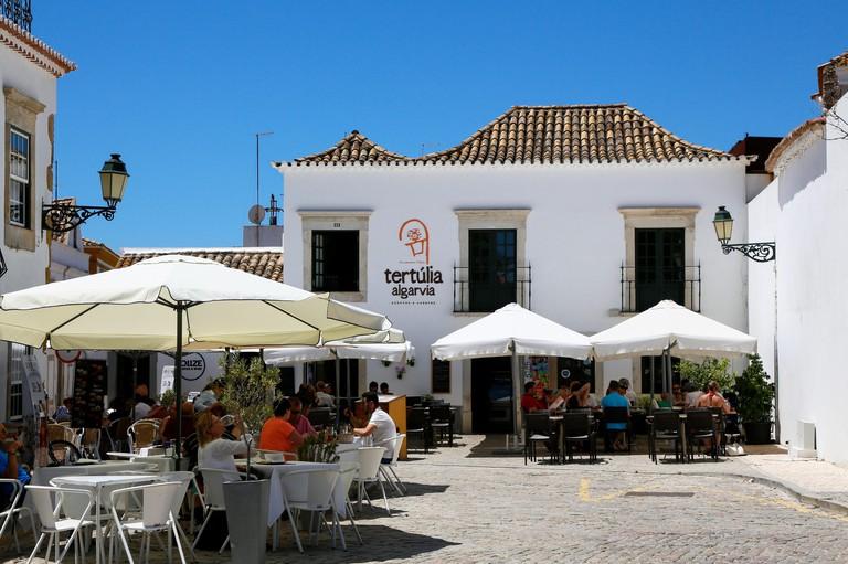 Faro, the capital of the Algarve, one of Portugal's tourist regions. Restaurant Tertulia Algarvia.