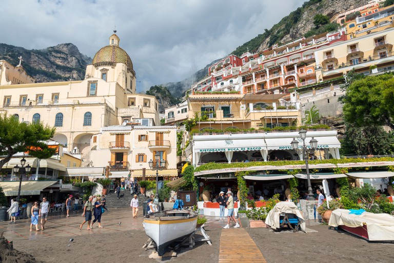 Restaurants and shops off the Spiaggia Grande beach, in Positano,Italy on the Amalfi coast.