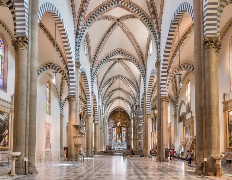 Interior of the Church of Santa Maria Novella, Florence, Italy.