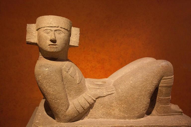 KP6Y70 Chac Mool staue in the Museo Nacional de Antropologia-The National Museum of Anthropology, Ciudad de Mexico, Mexico City, Mexico, Central America.