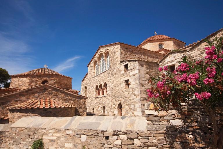 View to the Panagia Ekatontapiliani Byzantine Church-Monastery in the town center Parikia, Paros, Cyclades Islands, Greek Islands, Greece, Europe