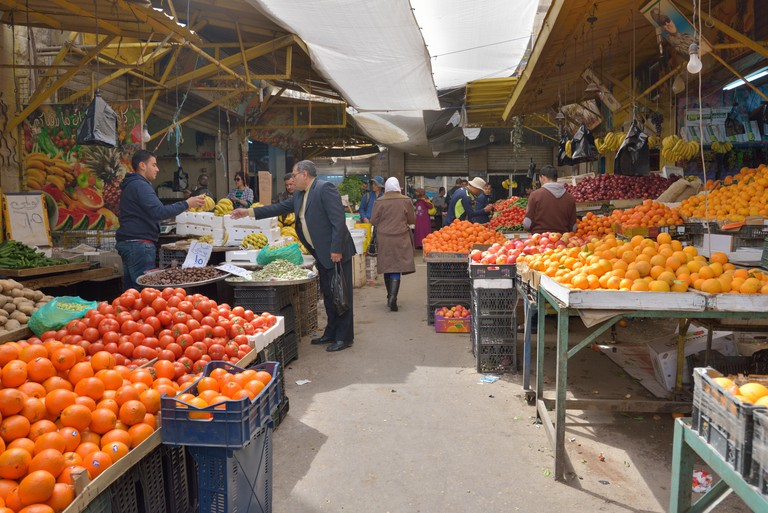 People at the farmer's market in the centre of Amman