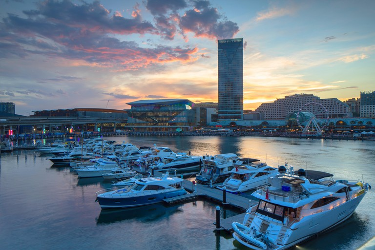 Sofitel Hotel and International Convention Centre at sunset, Darling Harbour, Sydney, New South Wales, Australia
