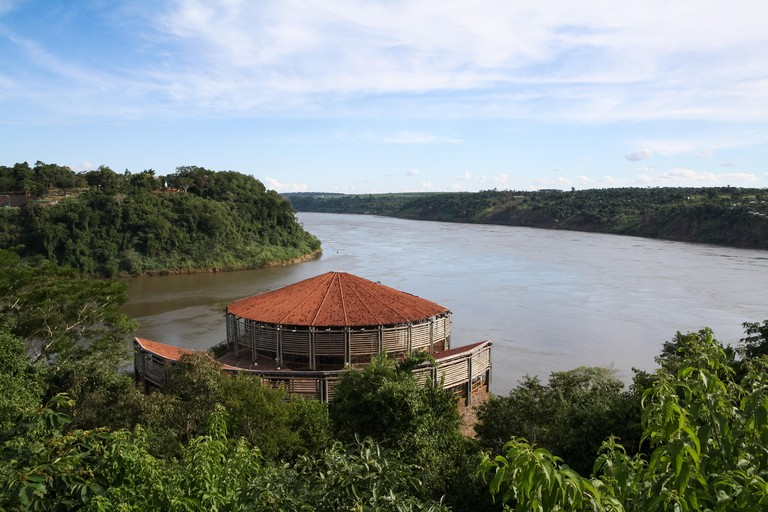 Marco das Tres Fronteiras, Argentina and Paraguay viewed from the triple-frontier landmark in Brazil