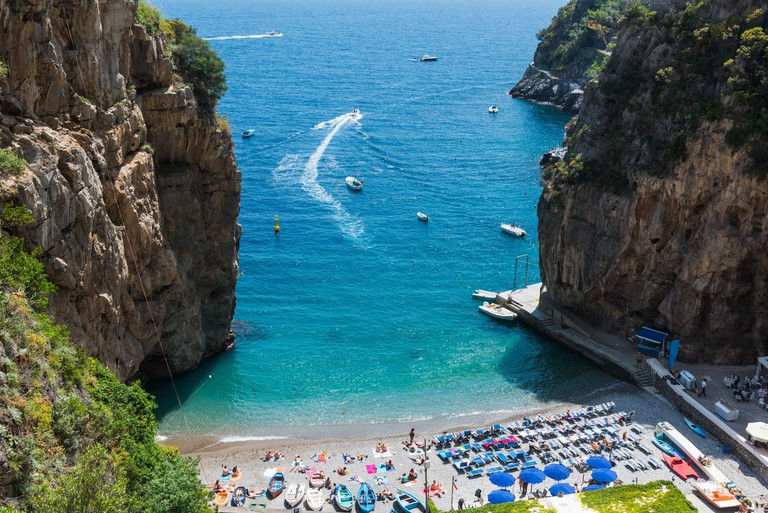 Marina di Praia in world famous Amalfi coast. Unesco world heritage site. Campania, Italy