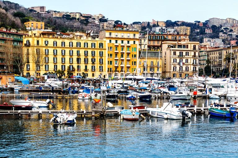 The picturesque marina Santa Lucia in Naples, Campania, Italy, Europe
