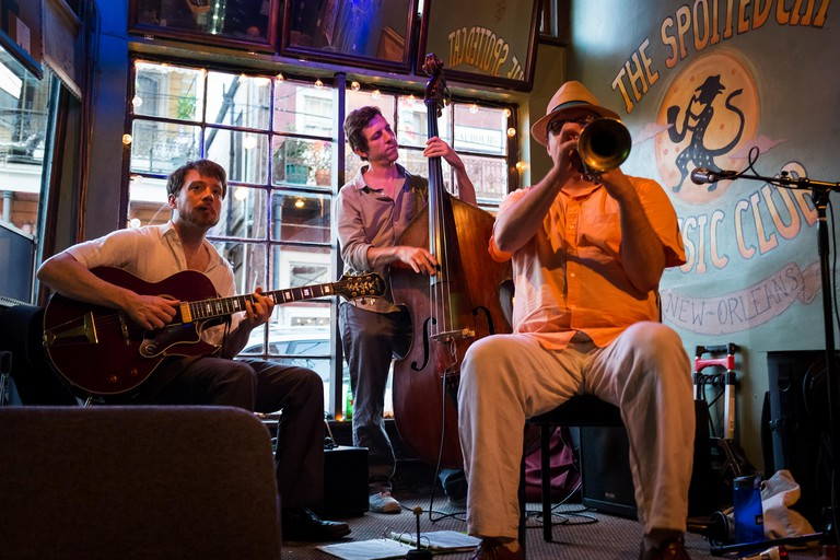 New Orleans, Louisiana - June 20, 2014: Jazz band playing at the Spotted Cat Music Club in the city of New Orleans, Louisiana, USA